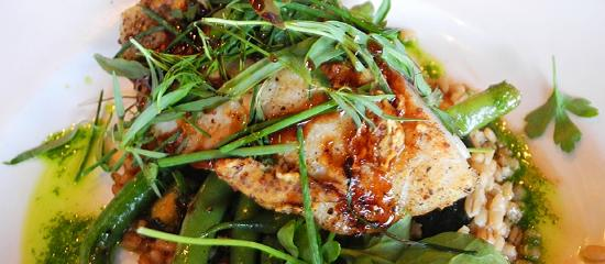 Solace & The Moonlight Lounge: Mustard Crusted Sea Bass, Sauteed Barley, Blue Lake Beans, Peppercress, Black Pepper Sauce