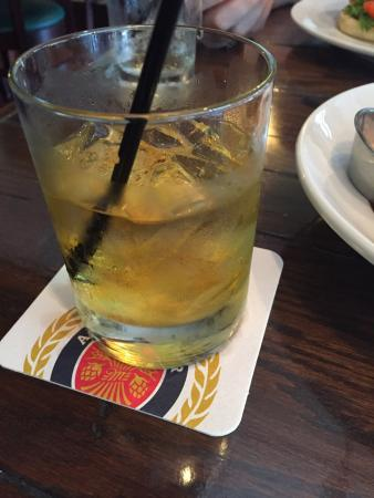 Pub 32 Irish Gastropub : Celtic Cross= Jameson Whiskey on the rocks with a floater of Drambuie.