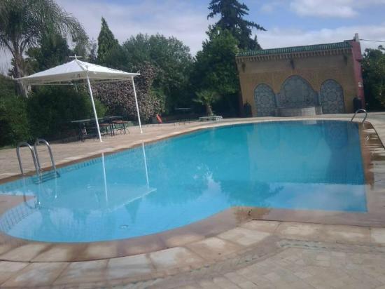 Riad Hotel l'Arganier d'Or: Grande piscine avec un grand jardin derriere et une immense fontaine traditionnelle