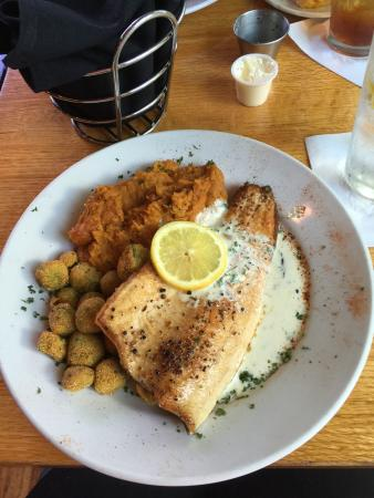 Pink mountain trout, mashed sweet potatoes and okra.