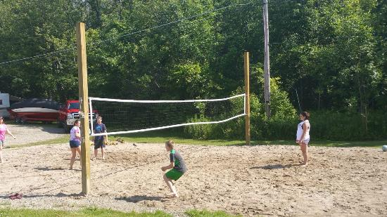 Presque Isle Passage RV Park & Cabin Rentals : New for 2015 Sand Volleyball next to pool