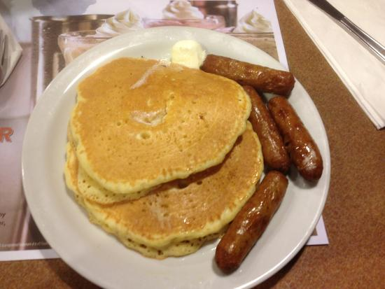 Dennys Utica pancakes and sausage Picture of Dennys Utica