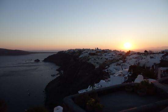 VIew of Oia from White House Villa at sunset