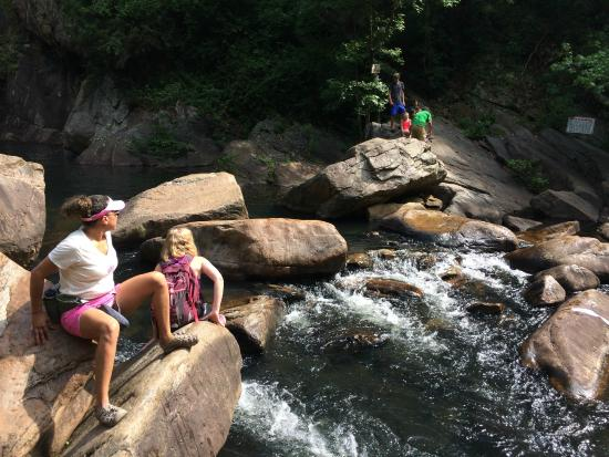 Tallulah Gorge State Park: Crossing the river - don't worry the water is shallow here - but no one we saw fell in.