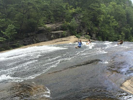 Tallulah Gorge State Park: Sliding down - woohoo!