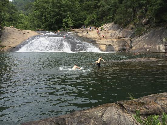 Sliding rock from across the pool - a kids paridise (for big kids like me, too)!
