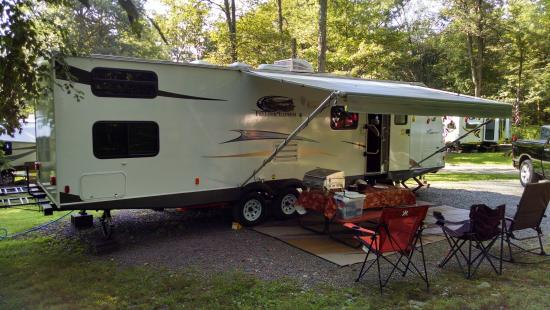 Whispering Pines Camping Estates: Our trailer setup on our site!