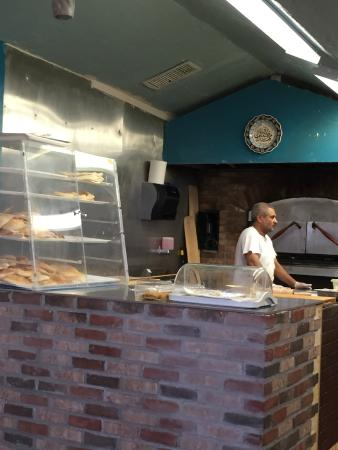 Counter with samples and bread for purchase