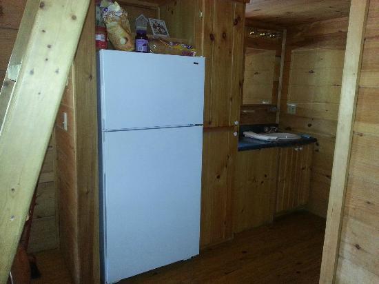 Clabough's Campground : Fridge/Bathroom sink area Cabin 13