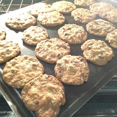Parish House Inn oatmeal chocolate chip cookies coming out of the oven.