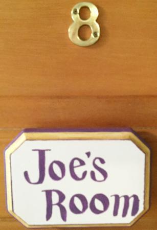 Parish House Inn: Joe's Room door sign