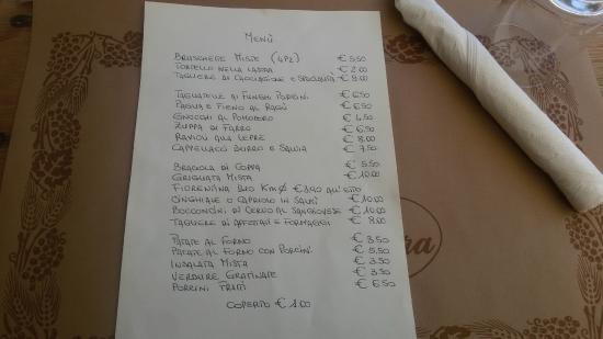 Verghereto, Włochy: Il menù