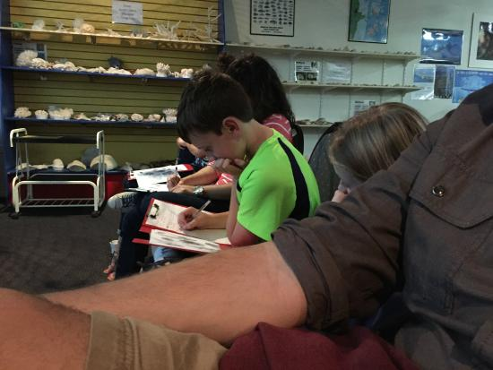 Reef Teach: my son taking notes