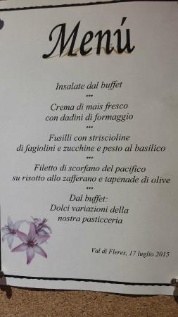 Hotel Alpin: Menu ultima sera