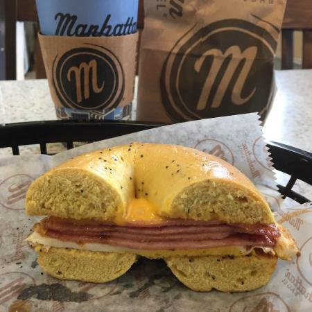Manhattan Bagel Co: Ham, egg & cheese on egg bagel