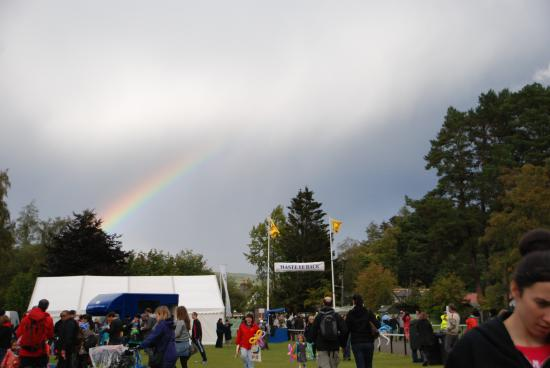 The Braemar Gathering: The sun disappeared and it began to rain.  Rainbow beauty!