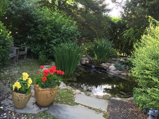 The Harvest Inn: Beautiful Koi Pond, a lovely porch to relax, unwind and drink some wine.