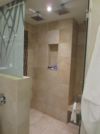 Bathroom with curtain wall picture of royalton riviera for Riviera bathrooms