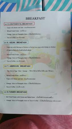 ‪‪Anyavee Ao Nang Bay Resort‬: Breakfast menu‬