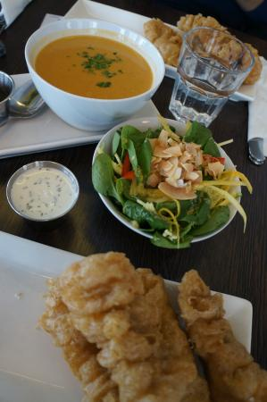 Fried ling cod mango salad and truffle skyronnaise dip for Icelandic fish and chips