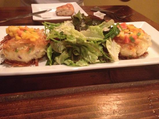 Tulipano's: Crab cakes, shrimp papadelle and seafood dish