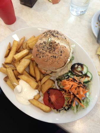 Prospect Plaice: Chicken Burger with salad and chips.