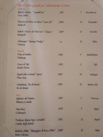 Taverna Estia: La carta dei vini e il piccione