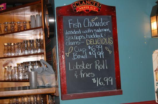 Settlers Saltwater Cafe: Menu board