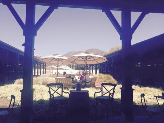 Tamber Bey Vineyards: Gorgeous view of the stables and courtyard from our seating area.
