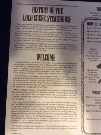 Lolo Creek Steakhouse: Their Story