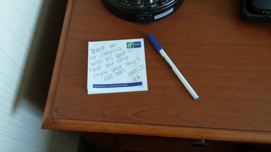 Holiday Inn Express Hotel & Suites Bay City: note left by housekeeper. Very nice touch