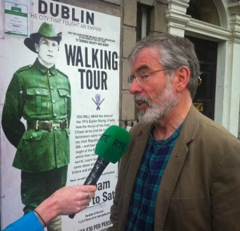 Rebel Tour of Dublin: The City That Fought an Empire : Gerry Adams interviewed outside Rebel Tour Office