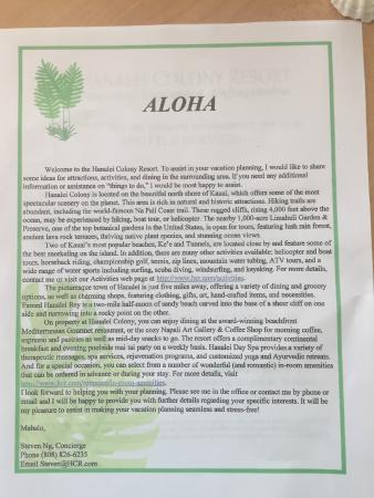 hcr welcome letter picture of hanalei colony resort hanalei tripadvisor. Black Bedroom Furniture Sets. Home Design Ideas