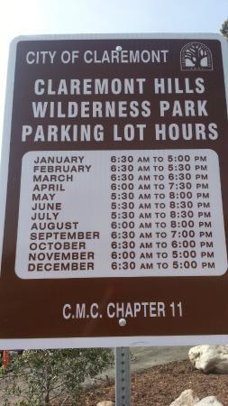 Claremont Hills Wilderness Park: schedule