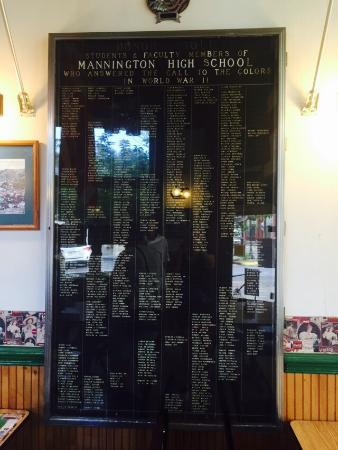 Hero's Corner has a display with the names of WWII veterans from Mannington.