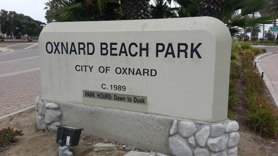 Oxnard State Beach and Park: stone sign