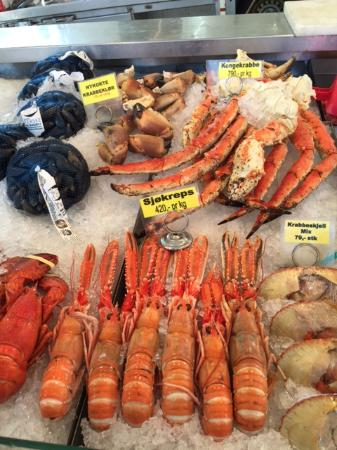Gorgeous fresh seafood for sale at the Fish Market, Bergen, Norway