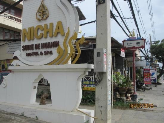 Nicha Hua Hin: Hotel front signboard
