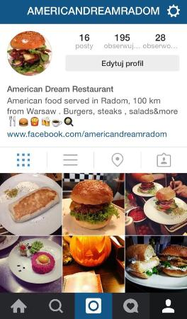 American Dream Restaurant: Instagram site