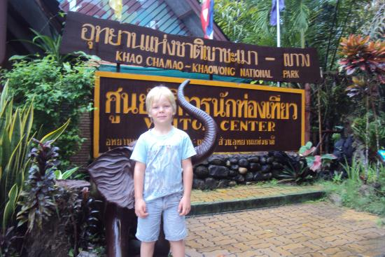 Khao Chamao Khao Wong National Park: Grandson Flynn at entrance to park