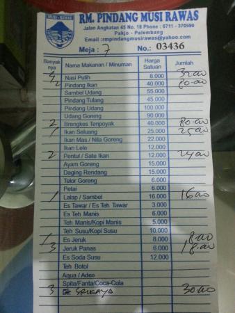 Bill Foto Rumah Makan Pindang Musi Rawas Palembang