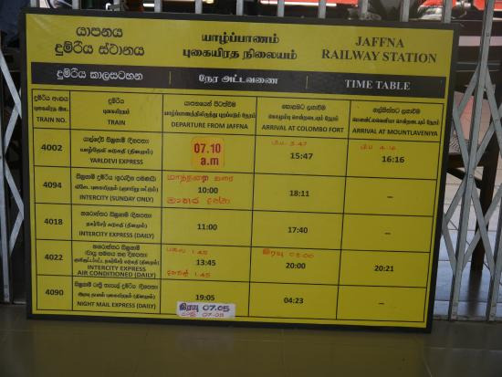 Time Table - Picture of Jaffna Central Railway Station