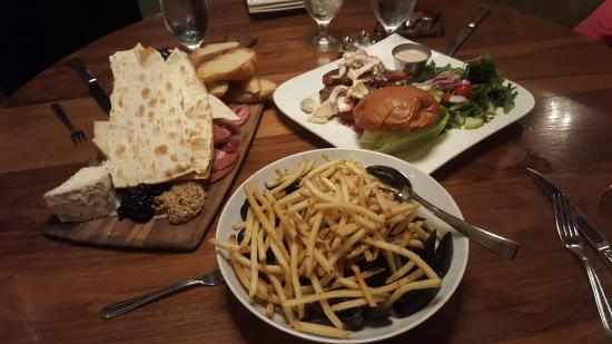 Indulge Bistro & Wine Bar: chartreuse board, mussel fries, bacon burger