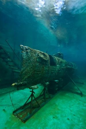 H. L. Hunley: The Hunley, the world's first sucessful combat sub, sitting in her 75,000 gallon conservation ta