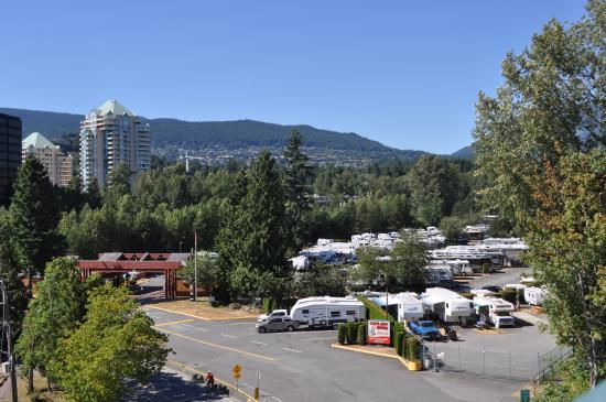 Capilano River RV Park: View of the park from the Lions Gate Bridge