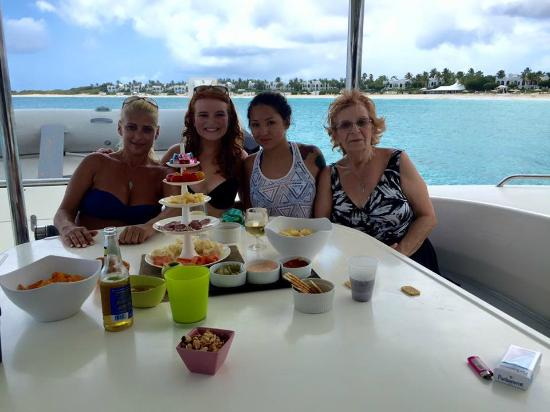 St Martin Catamarans Charters : Snacks before lunch at Anguilla!