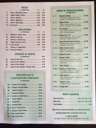 Claremont, Kuzey Carolina: Menu