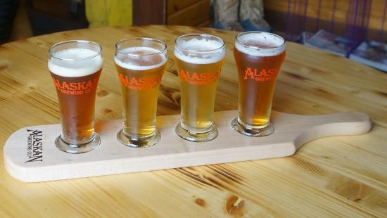 Indian, AK: Flight of beer from the Alaskan Brewing Company anyone?