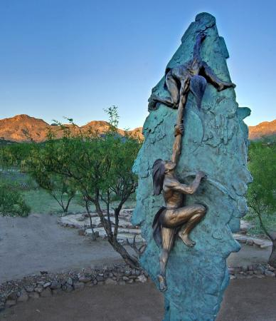 "Tubac, AZ: Gary Lee Price   ""Ascent""  Bronze in the K Newby Gallery Sculpture Garden"