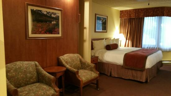 Grand Lodge Crested Butte : There is a king murphy bed behind the chairs!  clever layout!